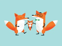 Foxes Birth Card