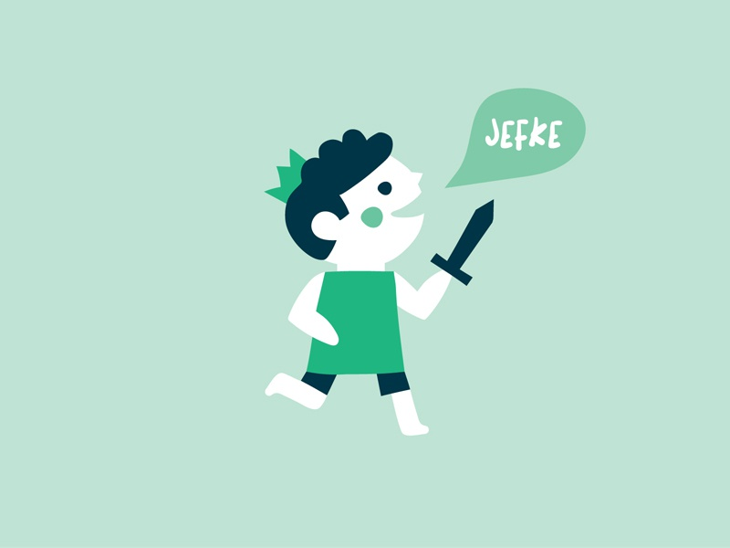 Jefke Birth Card crown boy sword birthcard birth card vector character commission illustration
