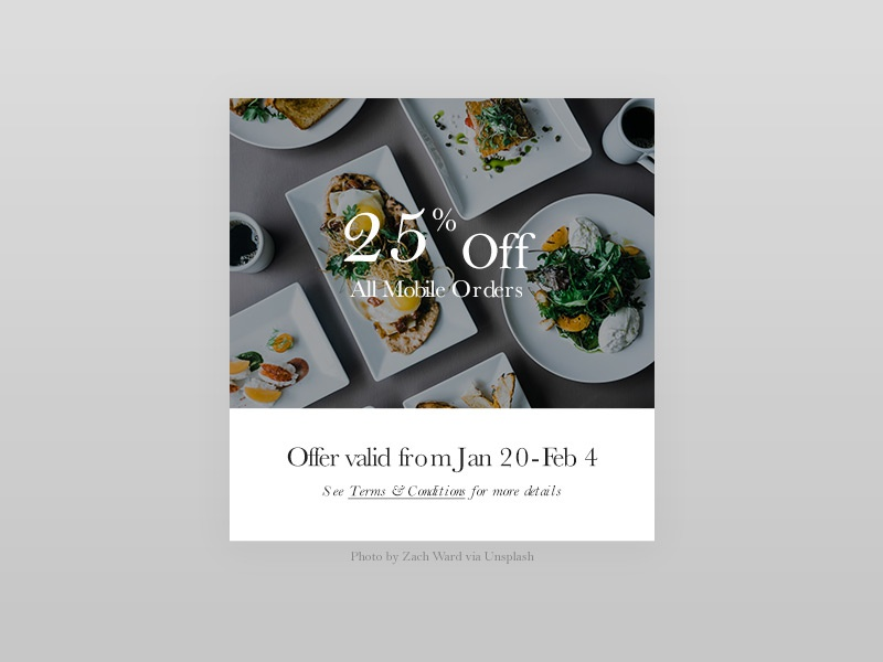 100 Day Challenge Day 17 - Special Offer food card simple offer minimal deal day017 daily100 daily clean 17 uichallange