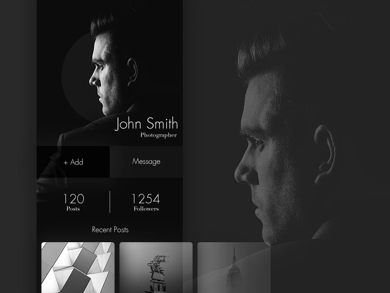 100 Day Challenge Day 19 - Profile page profile info design card about uichallange simple day019 daily100 daily dark 19