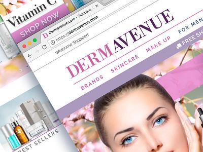 Dermavenue.com E-commerce logo & site build website e-commerce skincare logo