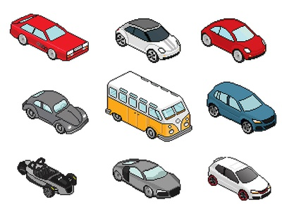 Volkswagen / Audi Isometric 8bit icons 21-window vw bus audi quattro new beetle gti gx3 r8 audi volkswagen 8-bit pixel-perfect