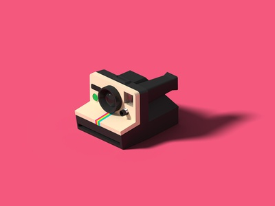 Polaroid Land Camera 1000 SE polaroid isometric art isometric illustration camera blender 3d blender 3d