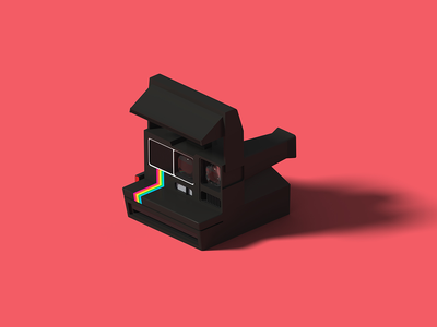 Polaroid OneStep 600 Black polaroid isometric art isometric illustration camera blender 3d blender 3d