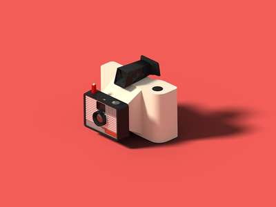 Polaroid Swinger Model 20 polaroid isometric art isometric illustration camera blender 3d blender 3d