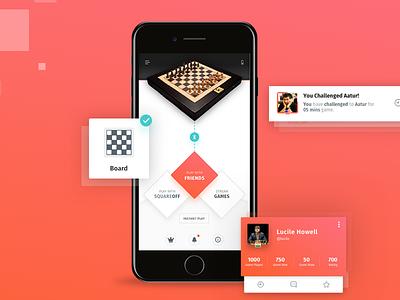 SquareOff - Mobile App Design artificial intelligence chessboard chess squareoff mobile app graphic design design ux design 17seven ui design