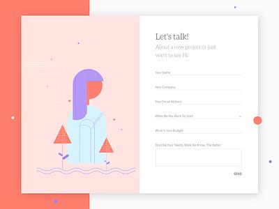 Contact page - UI design illustrations graphic design contact design agency contactpage ux design ui design