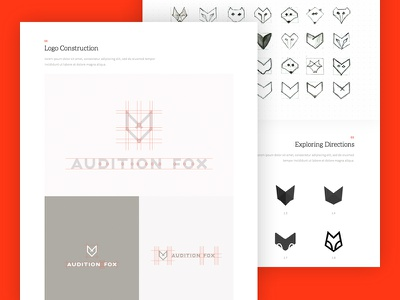 Branding Case study - Audition Fox 17seven presentation sketching case study logo illustrations audition fox graphic design branding