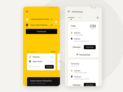 Booking a bus ride - Ux-UI clean ui 17seven android app ios app startup bus ride booking app mobile app design mobile app ux design ui design