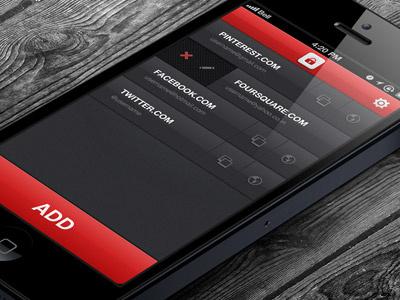 Security App - Listing iphone app design security app ios app design password ui design user interface design clean dark black