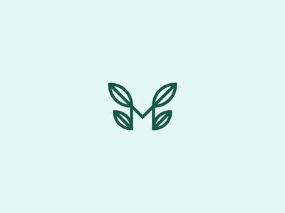 M+leaves lettermark for cafe