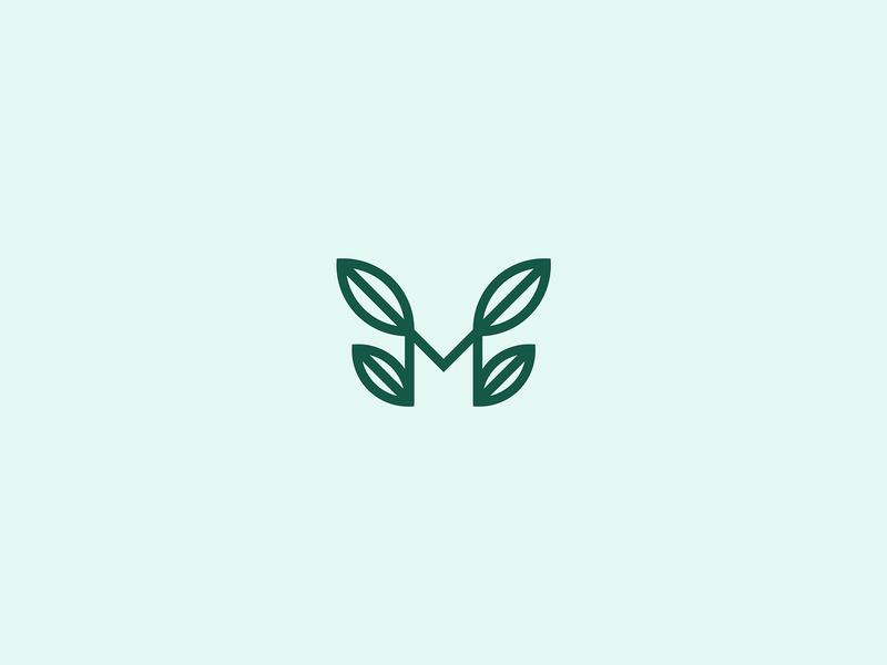 M+leaves lettermark for cafe brand art letter type logo beans branding identity illustration leaves cafe mark