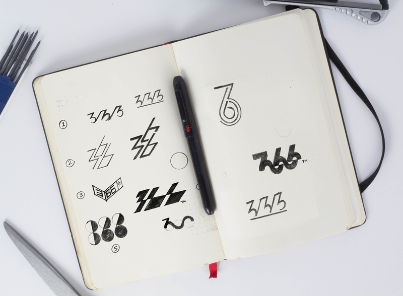 366 Logo I Sketching process for latest project number design identity design brand identity vector illustration sketching app design art design logos mark identity branding sketch 366