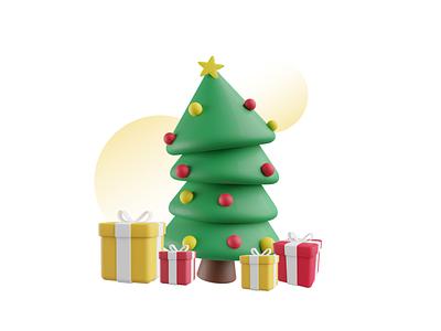 Merry Christmas freebie festival gift icon illustraion isometric 3d christmas tree christmas