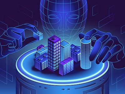 VR Technology - Construction hologram sci-fi virtual reality futuristic vector technology illustration pack illustrations iconscout illustration vr technology vr