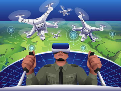 VR Technology - Drone Surveillance character futuristic future tech illustration pack vector virtual reality vr technology surveillance drone illustration iconscout icon