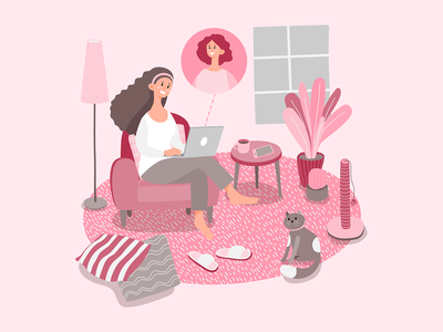 stayathome workathome smartworking woman chat landing page design web design relaxing armchair laptop pink livingroom cat remote work woman illustration