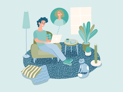 stayathome workathome smartworking man chat laptop pillows plants vector vector illustration illustrator web design cat toy cat relaxing blue man boy living room remote work stay at home work at home