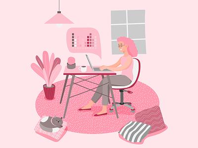 stayathome woman work laptop coffee cup web design illustrator sleepingcat plants stay at home woman girl livingroom pink illustration remote work lifestyle laptop