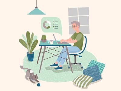 stayathome man work laptop pillow plant livingroom man boy workspace laptop cat green illustration illustrator web design remote work lifestyle stay at home stay safe