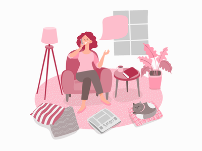 stayathome woman chat mobile stay at home pink armchair lamp plant cat book relaxing friend chat mobile web design illustrator livingroom illustration lifestyle