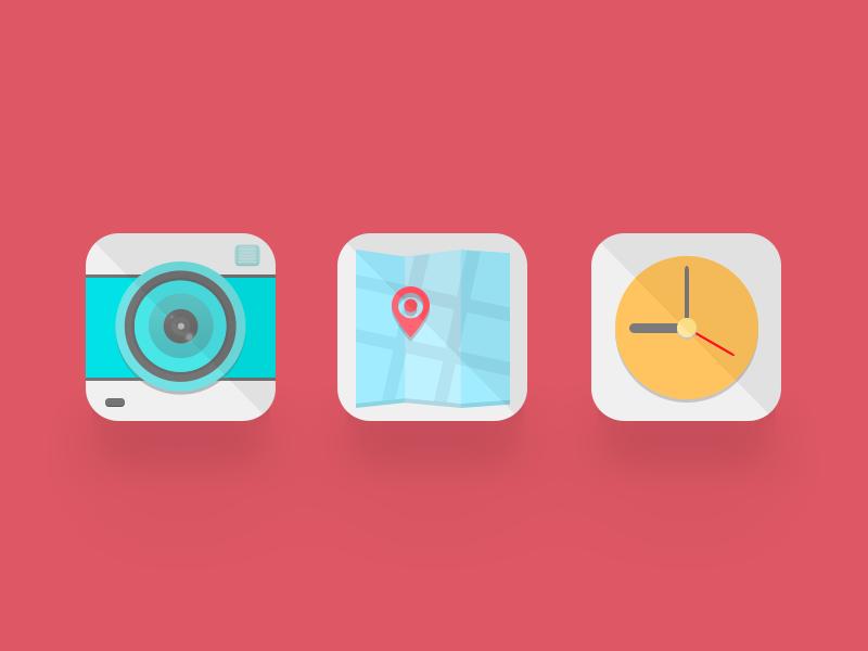 Icons icon camera map location clock flat