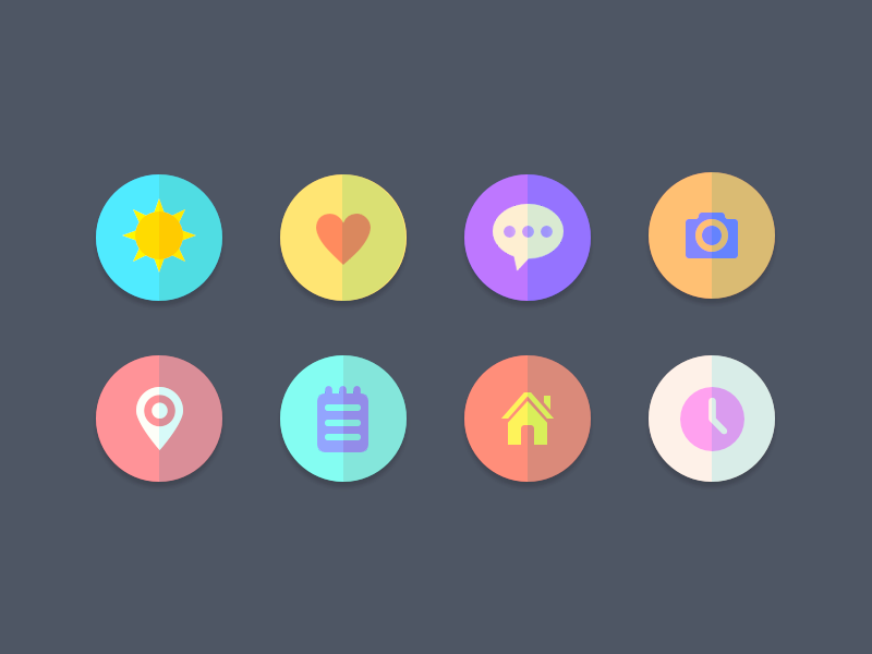 Icons ui icons flat semi flat location sun heart comment camera notes home clock design