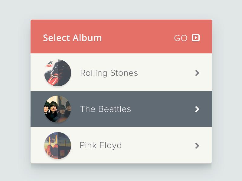 Select Album ui web music widget