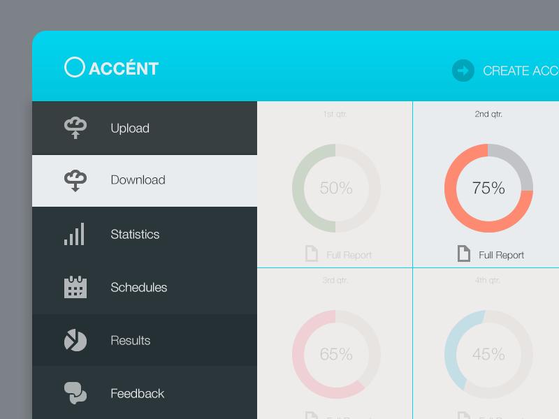 Accent Dash ui web design menu connect locations network interaction cloud upload dashboard flat