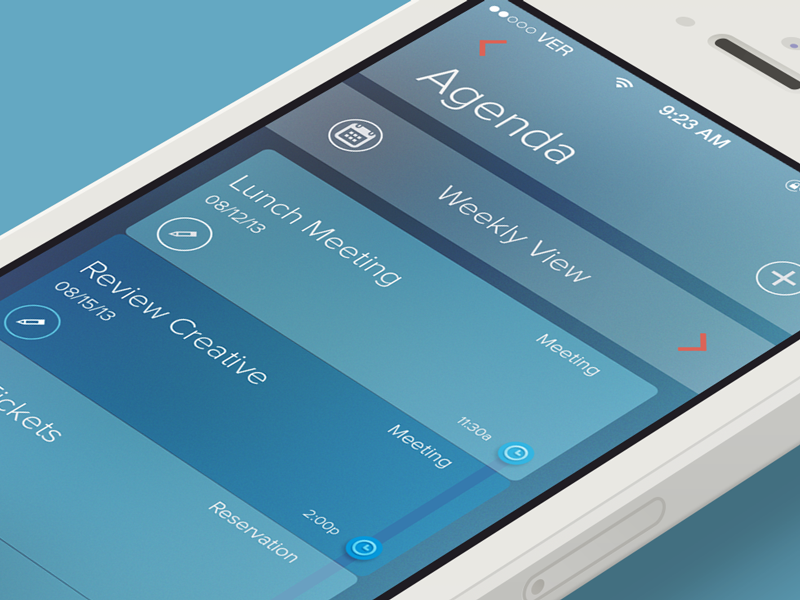 Agenda ios design flat iphone calendar notes profile organize iphone5 ios7 batch