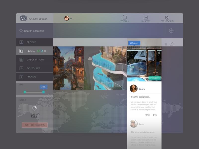 Vacation Spotter ui dashboard ipad ios7 flat transparent share reviews vacation travel