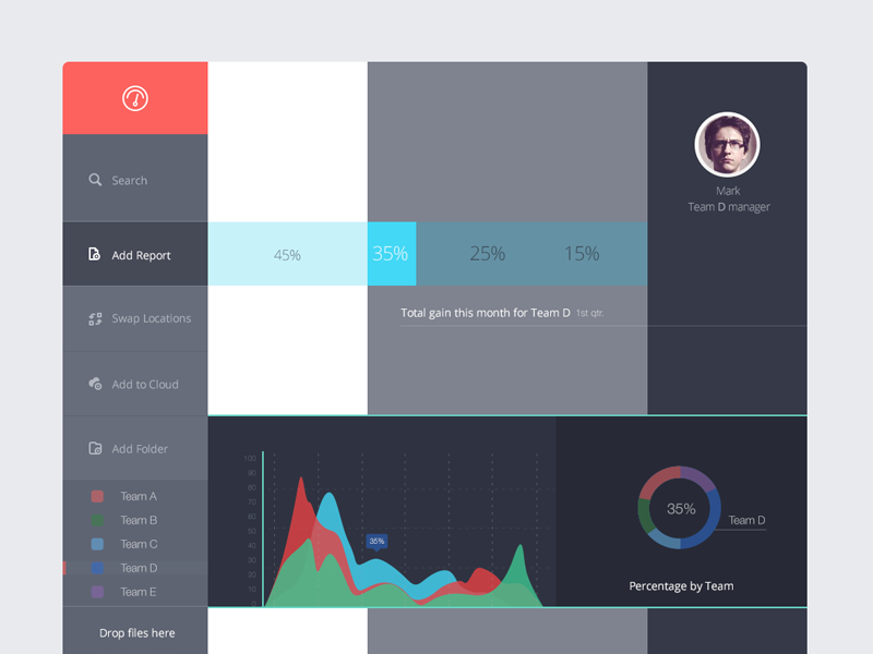 Salesdash ui dashboard ipad ios7 flat share reviews batch
