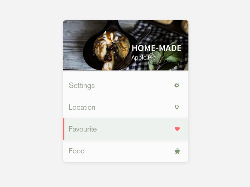 Recipe widget ui menu food settings recipe hungry design