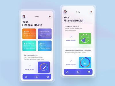 Relay credit financial app financial fintess ios iphone analytics dashboard design ui