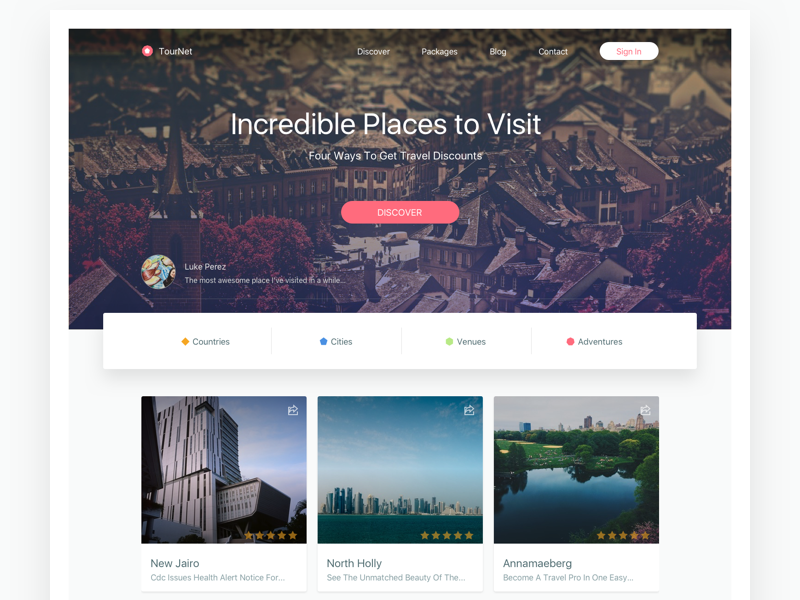Tournet website design web ui interface