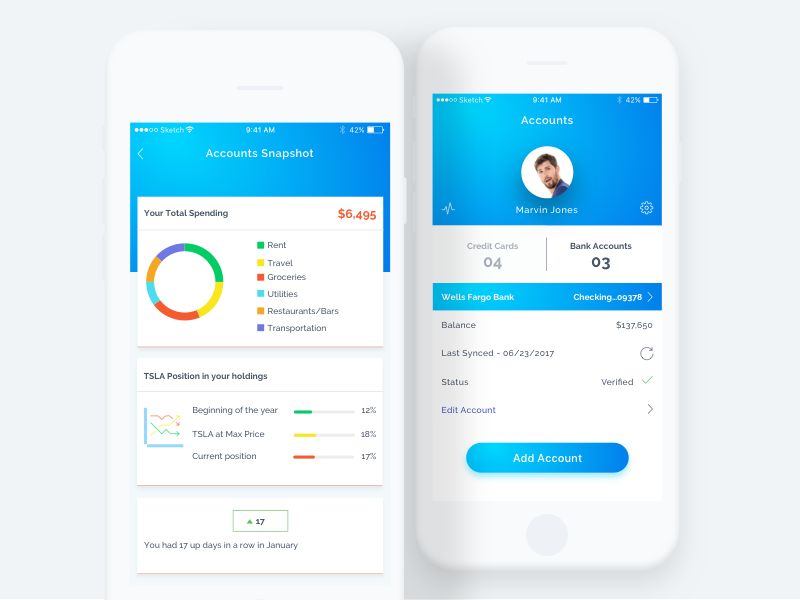 Accounts ux ui iphone ios interface gradient accounts