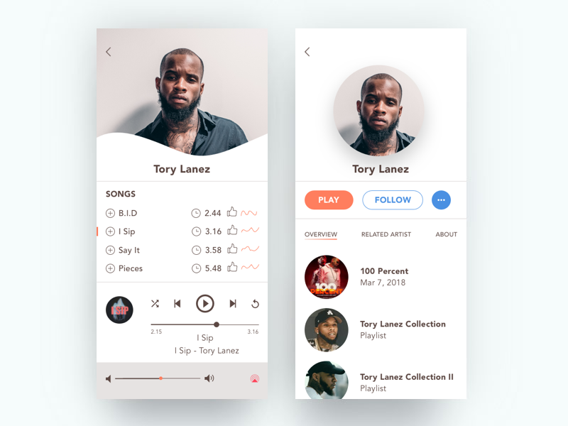 Player ios ui ux interface iphone music player iphonex