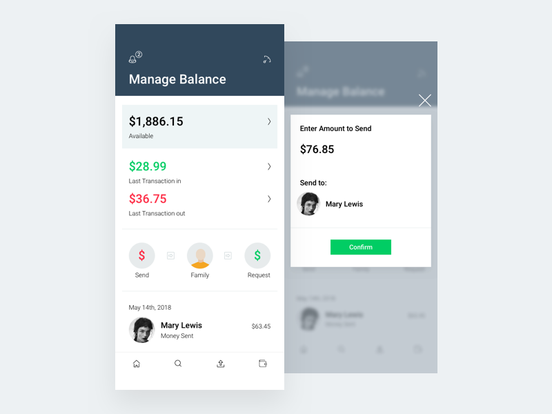 Manage Balance ui ux app money ios iphonex