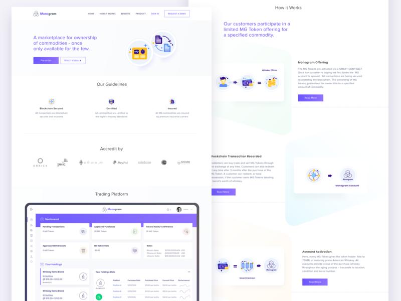 Monogram Update branding illustration web design analytics dashboard interface flat web design ui
