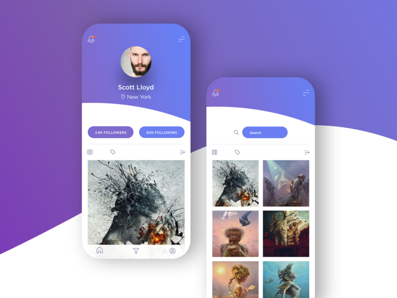 Photo ui  ux profile iphone interface design ui