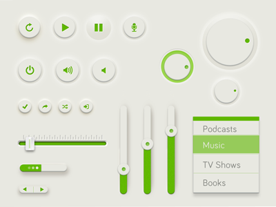 Green UI PSD music ui design interface player ui kit psd freebie