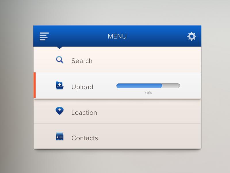 Menu ui web form widget menu