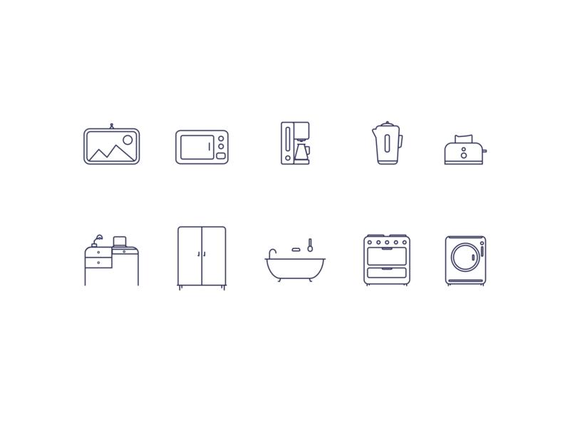 House Icons II icons icon icon design icon set iconography house icons house items house