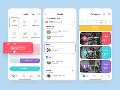 Coach fitness app fitness coach excercise illustration menu iphone design ui