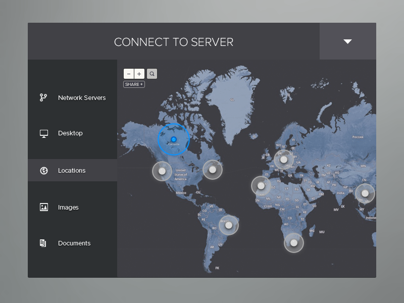 Connect To Server ui web design menu world server connect locations network interaction
