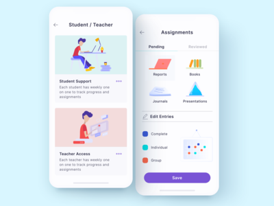 Assignments student project education app branding interface design ui ios
