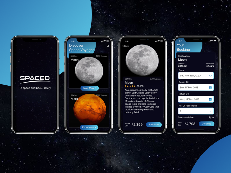 SPACED App space spacedchallenge booking app design ux ui design