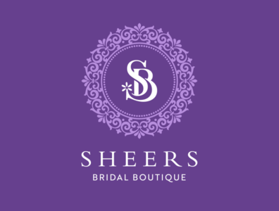 Sheers Bridal Boutique monogram icon flat floral brand design vector typography branding logo bridal design