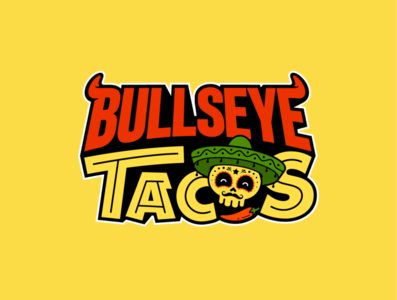Bullseye Tacos Logo negativespace brand design illustrator flat vector icon typography branding logo design