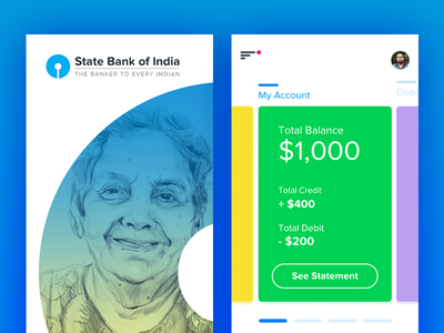 Adobe XD UI - Free download user-experience concept design banking app free download freebies adobe experience design adobe xd adobexd ui cards sbi